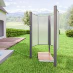 Breuer Garten-Dusche Fara-O, grau, Kunstglas - 85x115x180 cm