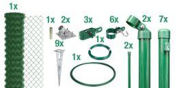 Maschendraht-Zaun-Set grün Pfosten mit Bodenhülsen