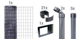 Maschendraht-Zaun-Set Fix-Clip Pro® anthrazit Pfosten zum Einbetonieren