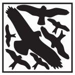 NW Aufkleber L290xB320 mm Vogelschutzset,Vogelsymbole Folie selbstkl. (3000277698)