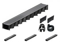 ACO Hexaline 2.0| 4 Meter Rinnen-Komplett-Set mit Stegrost aus Stahl verz.