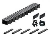 ACO Hexaline 2.0| 6 Meter Rinnen-Komplett-Set mit Stegrost aus Stahl verz.