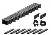 ACO Hexaline 2.0| 8 Meter Rinnen-Komplett-Set mit Stegrost aus Stahl verz.