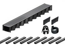 ACO Hexaline 2.0| 10 Meter Rinnen-Komplett-Set mit Stegrost aus Stahl verz.