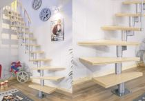 Dolle Systemtreppe Dublin Birke versiegelt - geradelaufend (12 Stufen) 65 cm breit