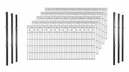 Hadra Doppelstabmattenzaun-Set KARO Anthrazit - Pfosten m. Halteplättchen - Elemente 2,0 m breit