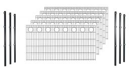 Hadra Doppelstabmattenzaun-Set KREIS Anthrazit - Pfosten m. Halteplättchen - Elemente 2,0 m breit