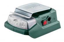 Metabo Akku-Power-Adapter PowerMaxx PA 12 LED-USB (600298000), 12 V Anschluss + 5 V USB + LED-Licht, Karton