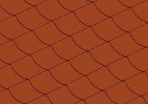 Eternit Quadrate glatt mit Bogenschnitt links, klassikrot 20 x 20 cm