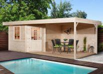 Weka Saunahaus Salo 2 natur mit Holztür Sauna 194x194/Haus 646x338 cm