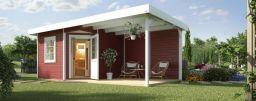 Weka Saunahaus Salo 2 rot mit Holztür Sauna 194x194/Haus 646x338 cm