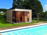 Weka Saunahaus Cubilis mit Glastür & Fenster Sauna 194x194/Haus 380x300 cm