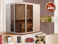 Weka Designsauna Sara 1 mit Glastür & Fenster 194x194 cm mit Ofen