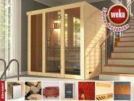 Weka Massivholz-Elementsauna Kemi PANORAMA 2 mit Glastür & Fenster 211x169 cm mit Ofen