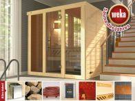 Weka Massivholz-Elementsauna Kemi PANORAMA 2 mit Glastür & Fenster 211x169 cm mit Bio Ofen
