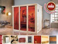 Weka Massivholz-Elementsauna Kemi PANORAMA 3 mit Glastür & Fenster 211x210 cm mit Ofen