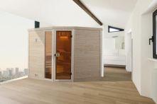 Weka Massivholzsauna Cubilis Eck 3 mit Glastür & Fenster 245x195 cm