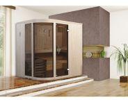 Weka Designsauna Sara 1 mit Glastür & Fenster 194x194 cm mit Bio Ofen