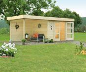 Wolff Finnhaus Gartenhaus Calais mit Anbau und Seitenwand  - 550x250 cm
